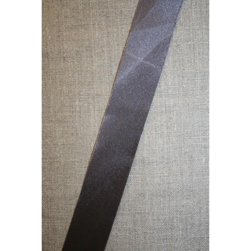 Satin skråbånd mørk grå, ikke foldet-35