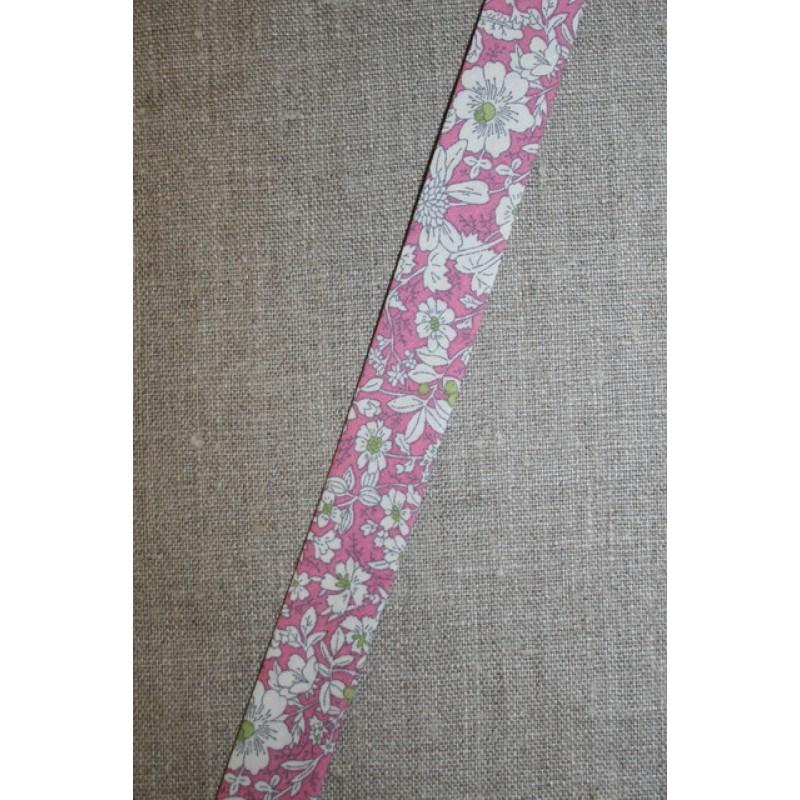 Skråbånd m/blomster, rosa-35