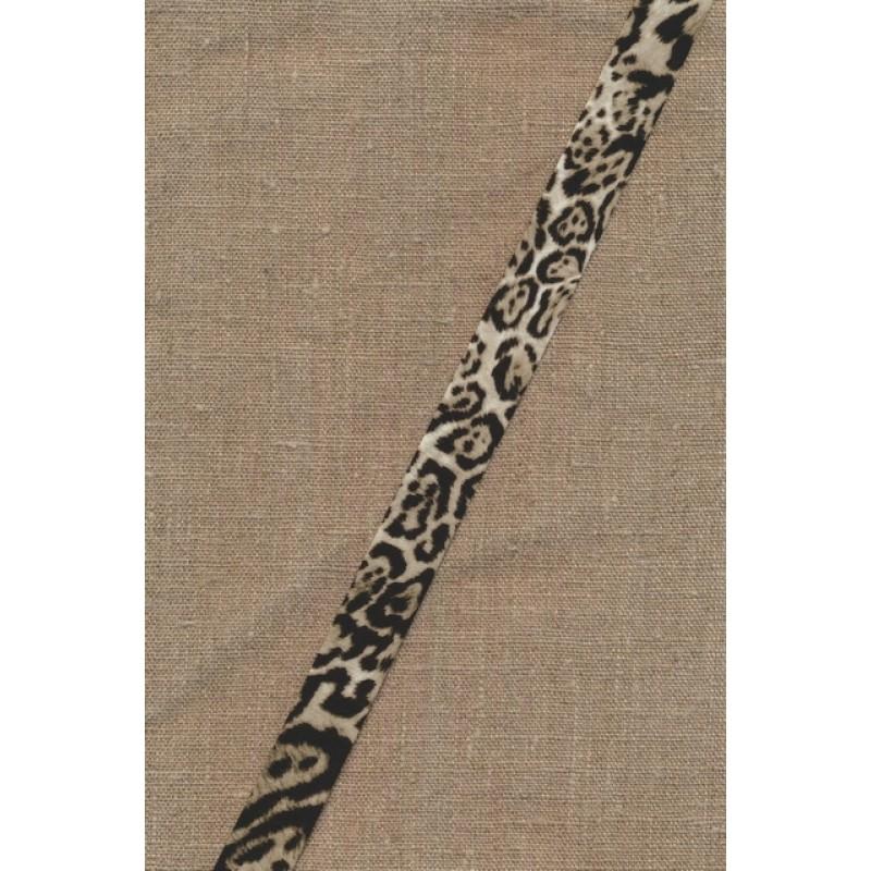 Skråbånd med dyreprint leopard i sand og sort