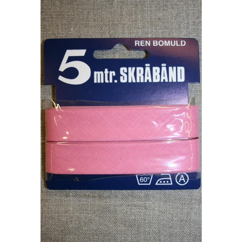 5 meter bomulds-skråbånd, rosa