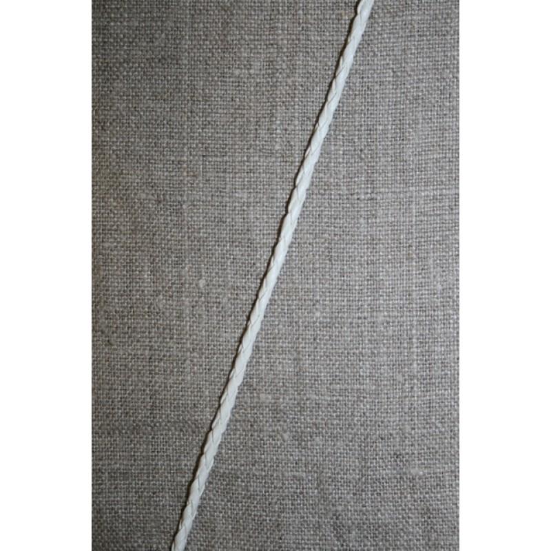 Imiteret flettet lædersnøre 3 mm. hvid