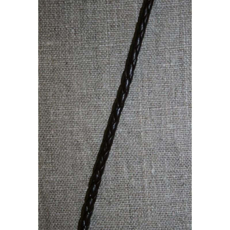 Imiteret flettet lædersnøre 4 mm. mørkebrun-35