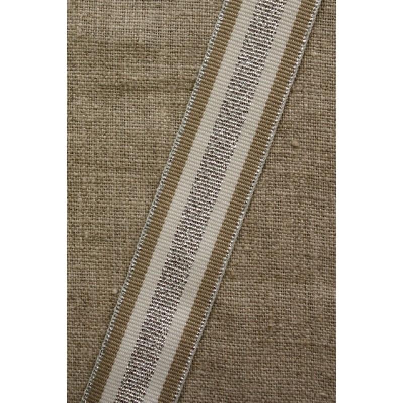 Sportsbånd stribet med lurex off-white sand sølv, 25 mm.