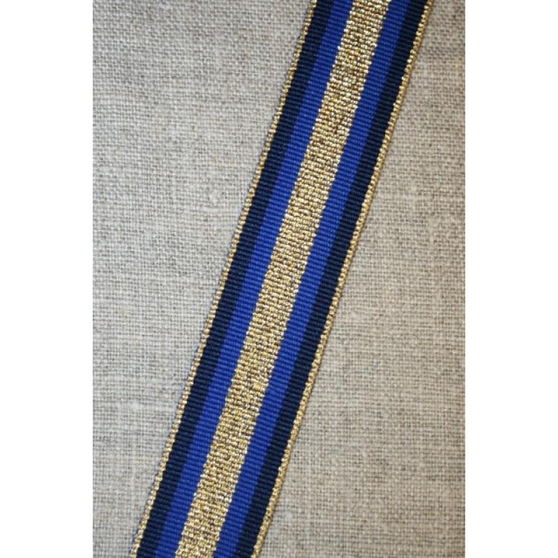 Sportsbånd stribet med lurex marine koboltblå guld, 25 mm.