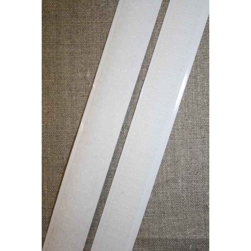 20 mm. velcro med lim selvklæbende, hvid-33