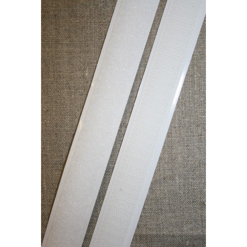 Rest 20 mm. velcro med lim selvklæbende, hvid hook 130 cm.-36