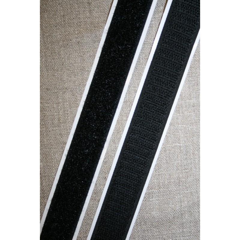 Rest 20 mm. velcro med lim - selvklæbende, sort hook 61 cm.