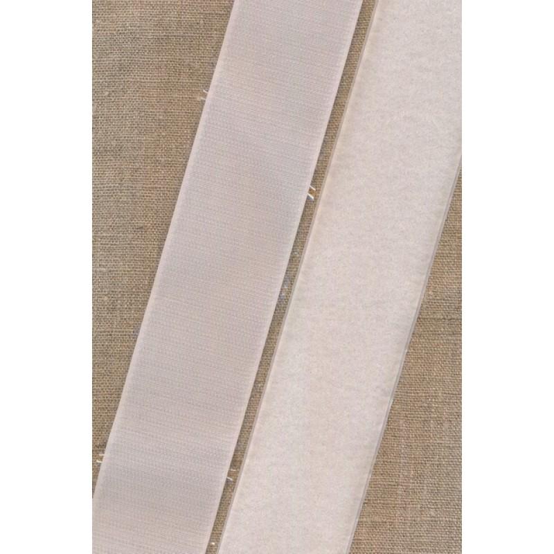 50 mm velcro hvid med lim - selvklæbende