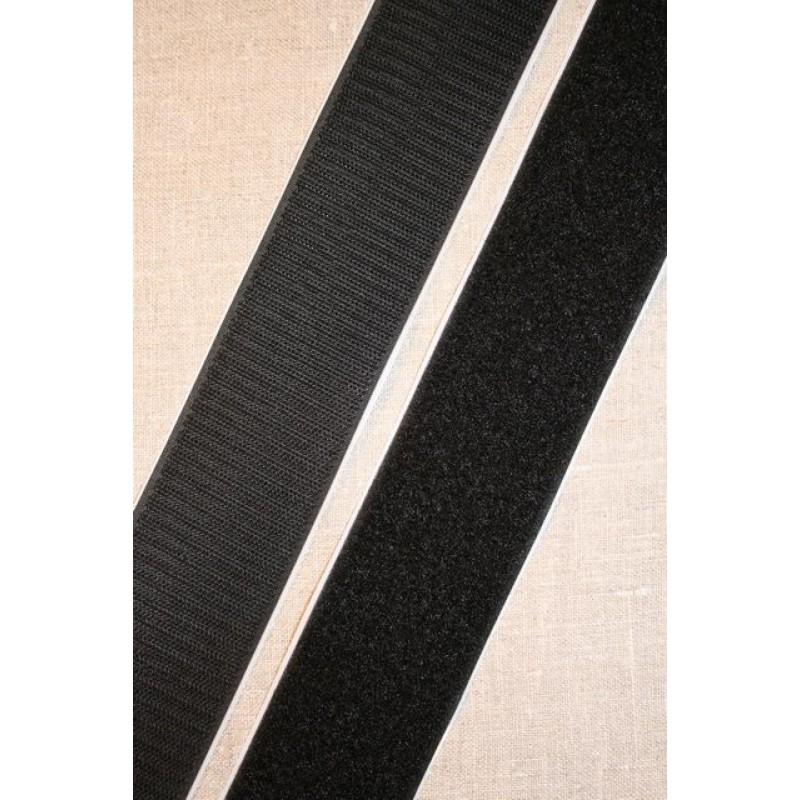 Rest 50 mm velcro sort med lim - selvklæbende, 46 cm. hook