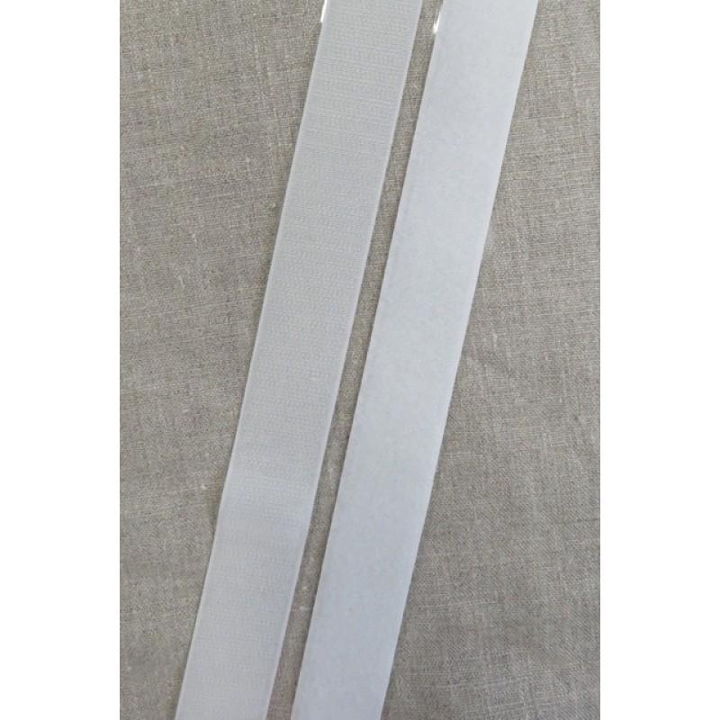 25 mm. velcro med lim selvklæbende, hvid-31