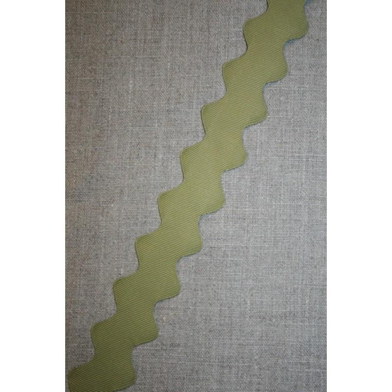 Zig-zag bånd 32 mm. oliven-35