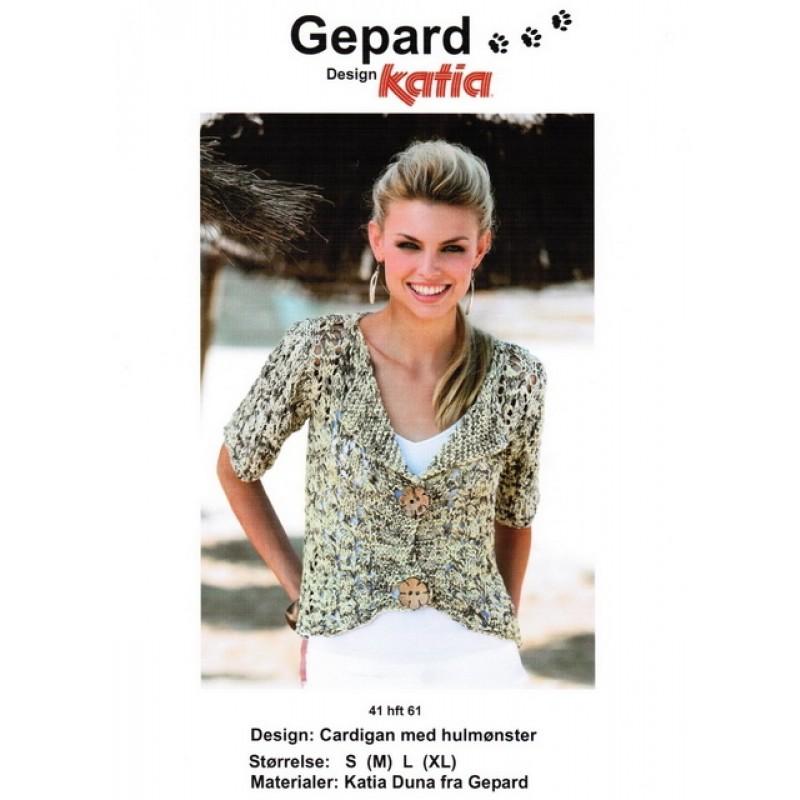 Gepard mønster Cardigan m/hulmønster i Duna-31