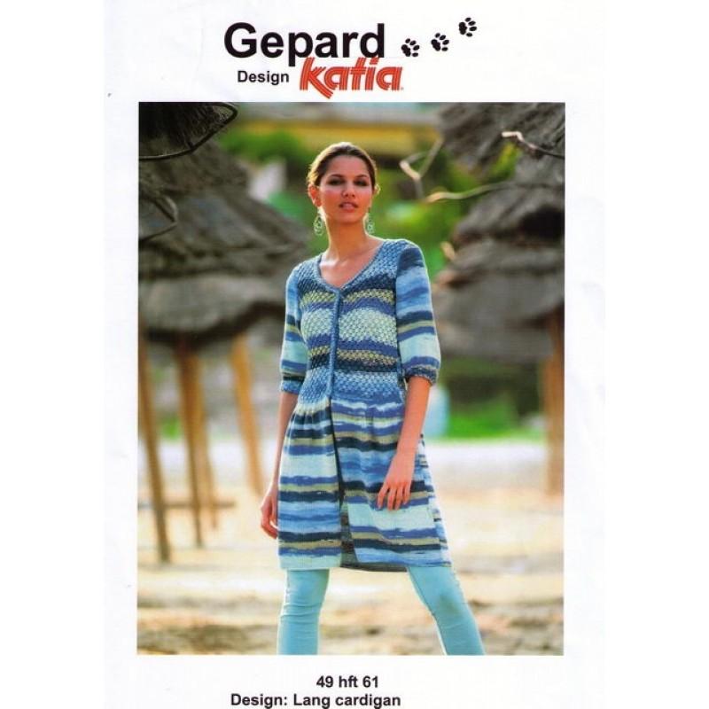 Gepard mønster Lang Cardigan i Tobago