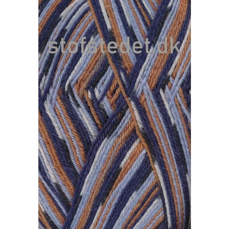 Aloe strømpegarn print mørkeblå lyseblå gylden