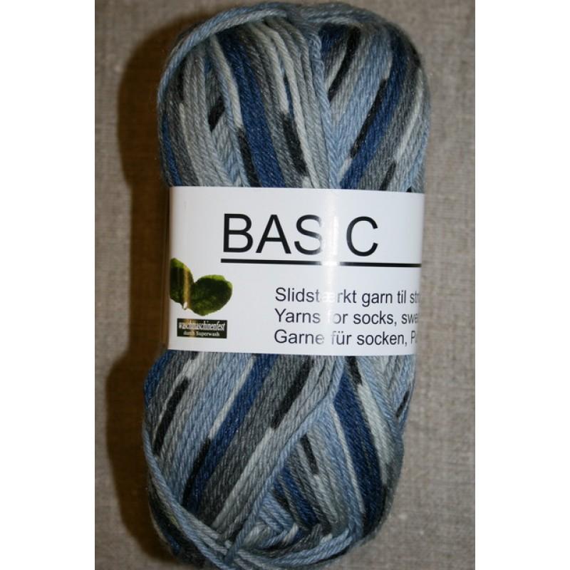 Basic uld/polyamid, Jacquard print grå/lyseblå/blå-35