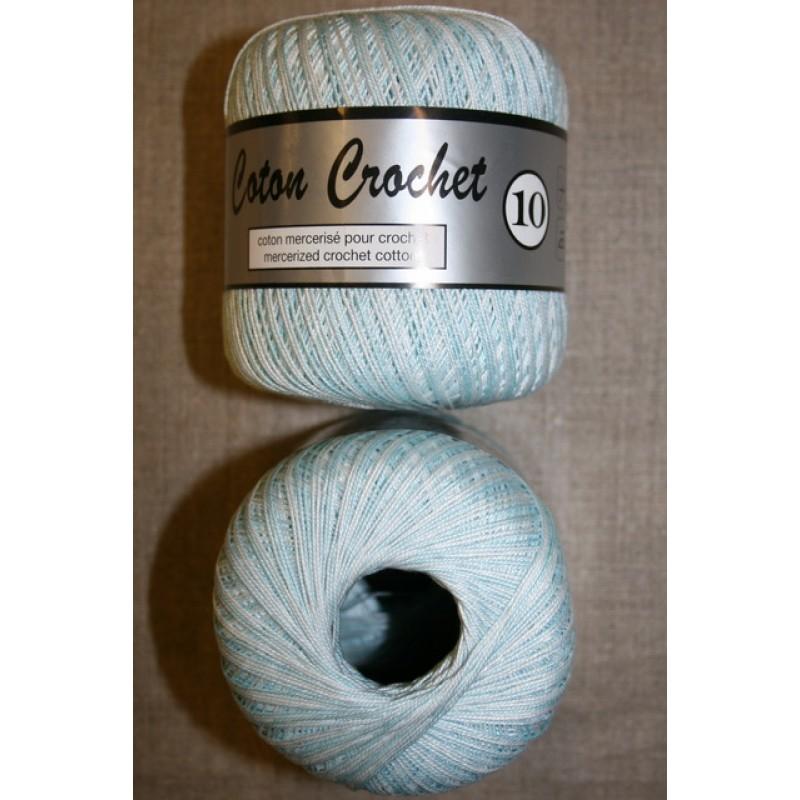 Nr. 10 hækle- strikkegarn meleret babylyseblå/hvid