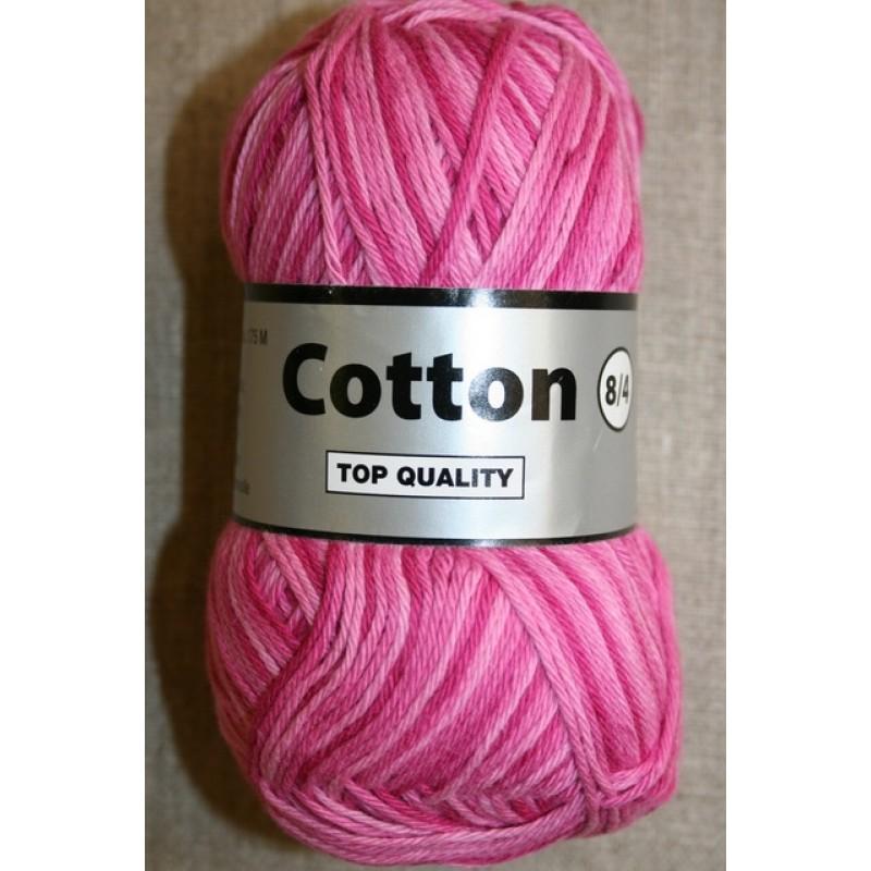 Flerfarvet Cotton 8/4 pink lyserød