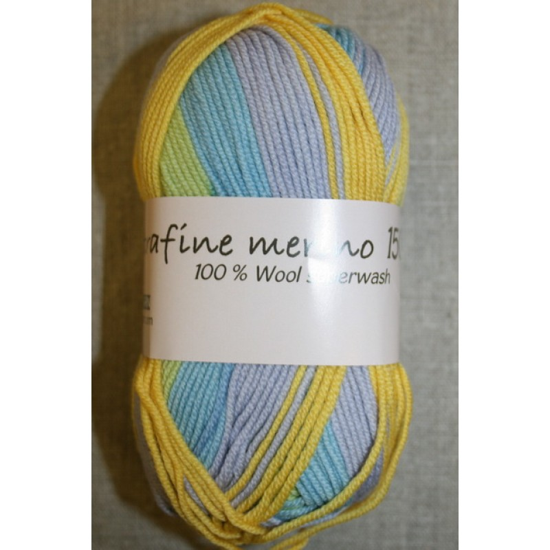 Extrafine Merino 150 print gul/lyseblå
