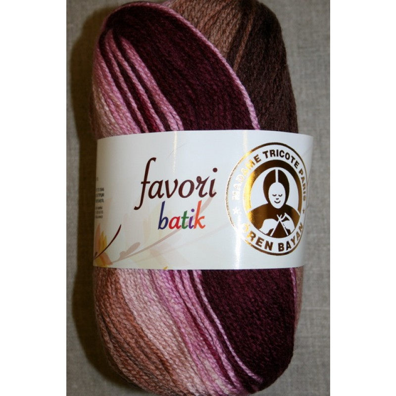Farvori Batik long print, bordeaux/rosa/brun 100g.