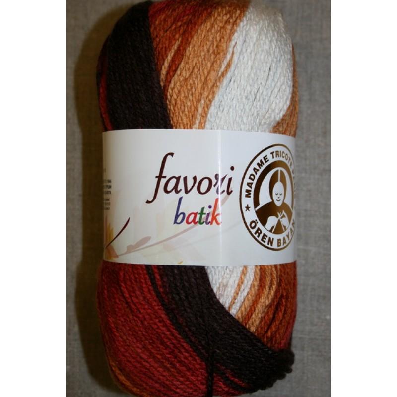 Farvori Batik long print, brændt orange/brun/hvid 100g.-33