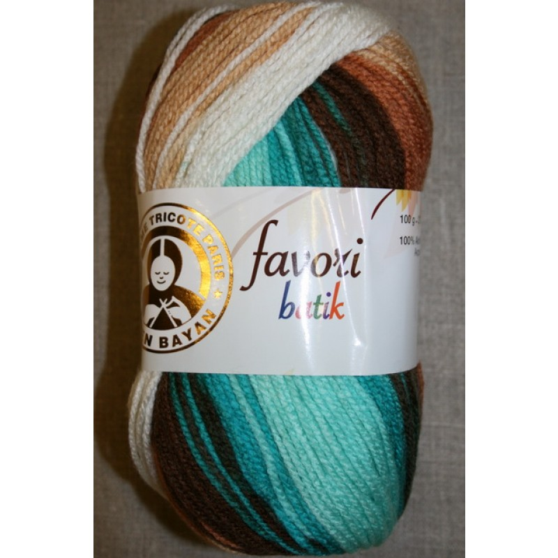 Farvori Batik long print, petrol/brun/hvid 100g.-33