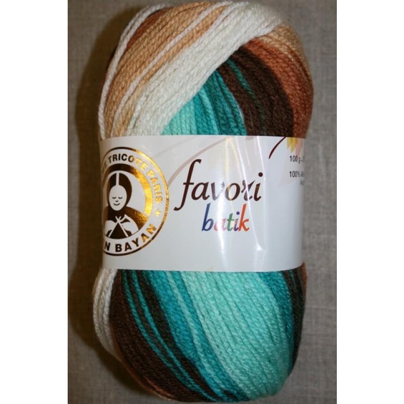 Farvori Batik long print, petrol/brun/hvid 100g.