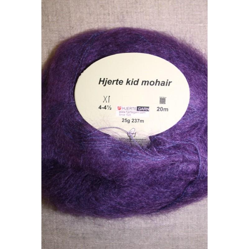 Hjerte Kid Mohair garn i mørkelilla