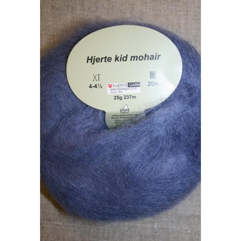 Hjerte Kid Mohair garn støvet blå