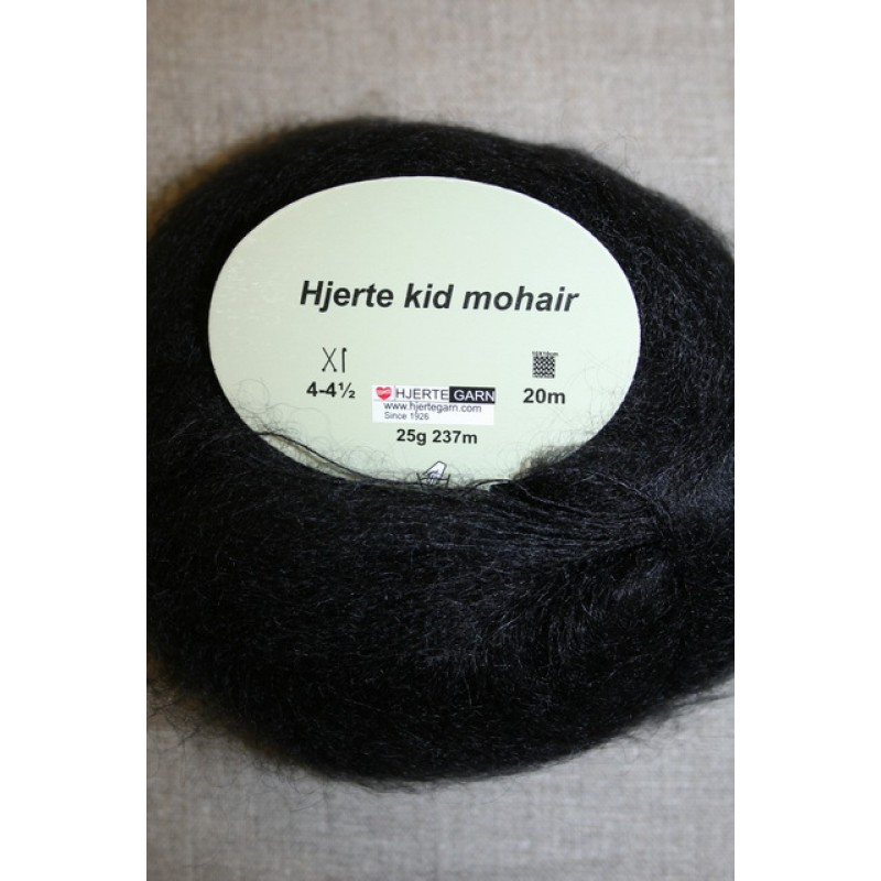 Hjerte Kid Mohair garn sort-35