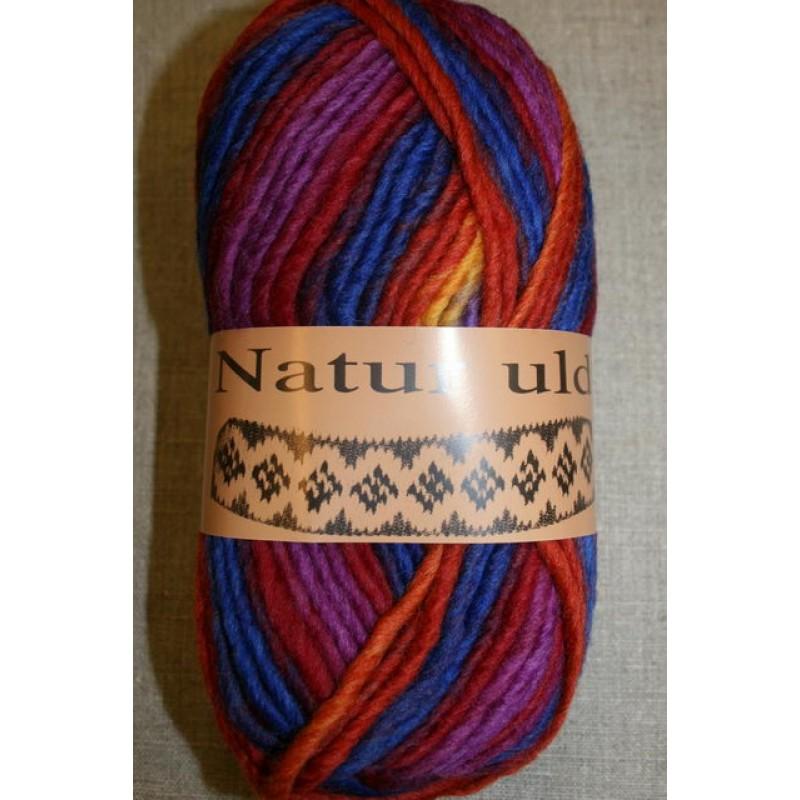 Naturuld print koboltblå/rød/lilla-31