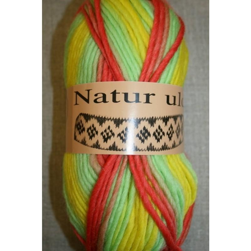 Naturuld print mint/koral/gul-31