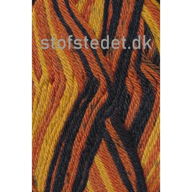 Ragg strømpegarn i sort, carry og brændt orange