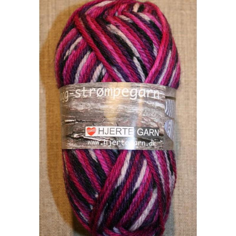 Ragg strømpegarn i lilla, cerisse og pink-33