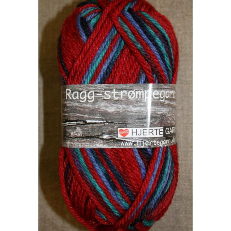 Ragg strømpegarn i rød, aqua og blå-33