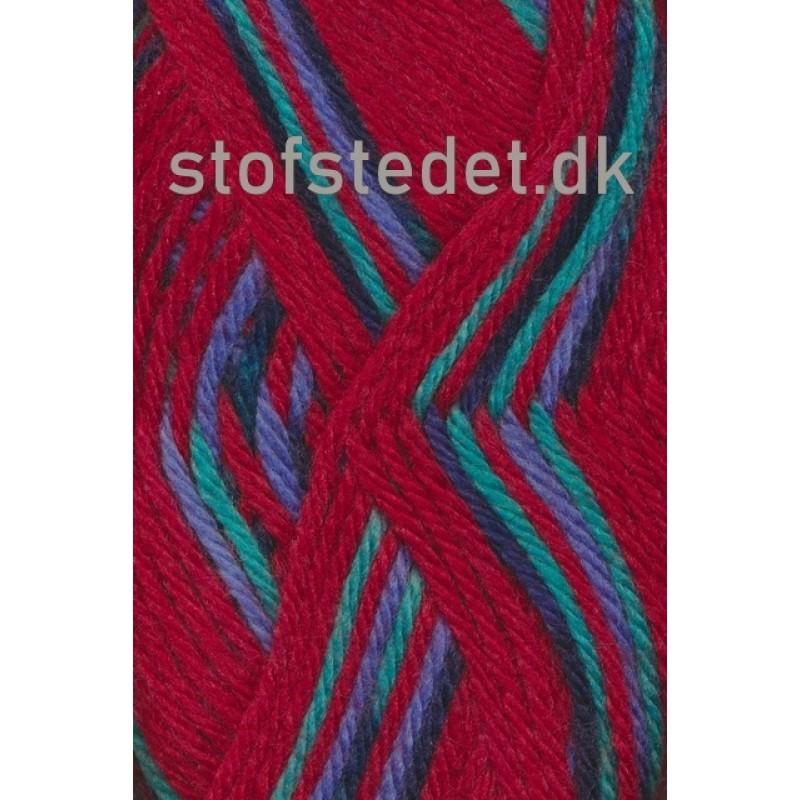 Ragg strømpegarn i rød, aqua og blå-34