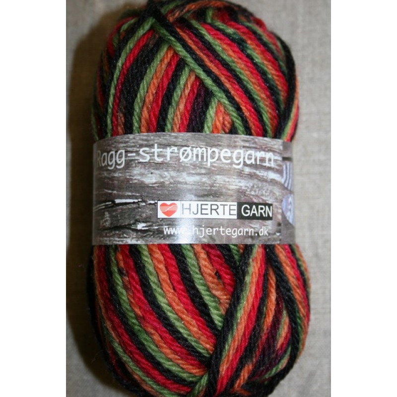 Ragg strømpegarn sort/lime/rød/orange-31