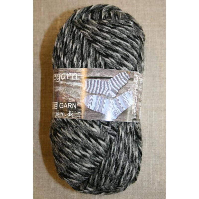 Ragg strømpegarn meleret grå, lysegrå og sort-33