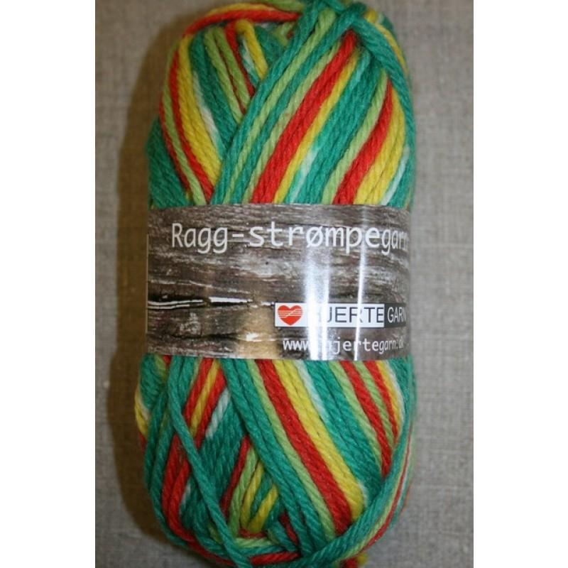 Ragg strømpegarn græsgrøn/gul/orange