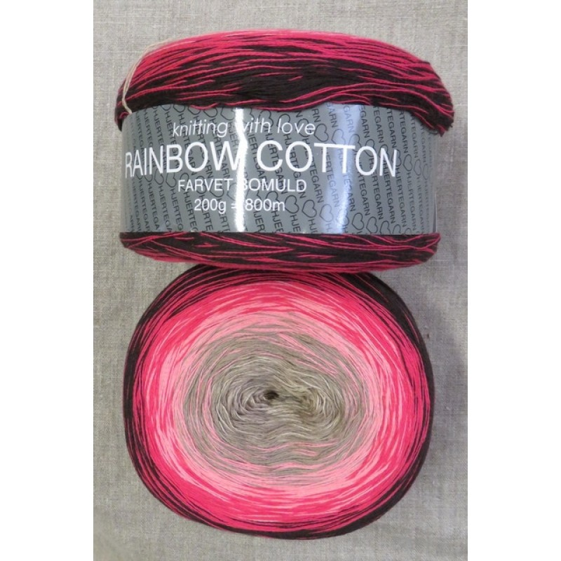 Rainbow Cotton 100% bomuld i sort rød lyserød sand