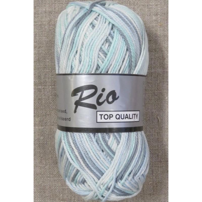 Rio mercerisered bomuld, aqua/hvid/grå