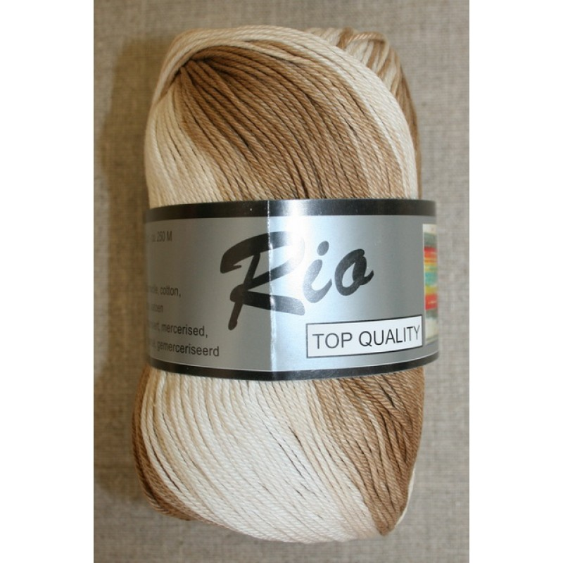 Rio mercerisered bomuld long print, beige/creme 100g.-35