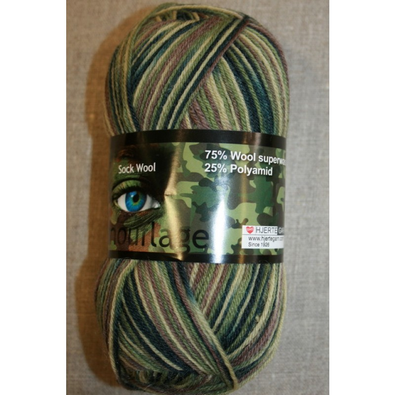 Strømpegarn Jacquard Magic Camouflage army/lysegrøn/oliven-35