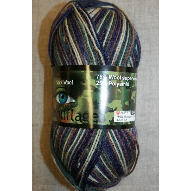 Strømpegarn Jacquard Magic Camouflage army/lilla/mørkegrøn
