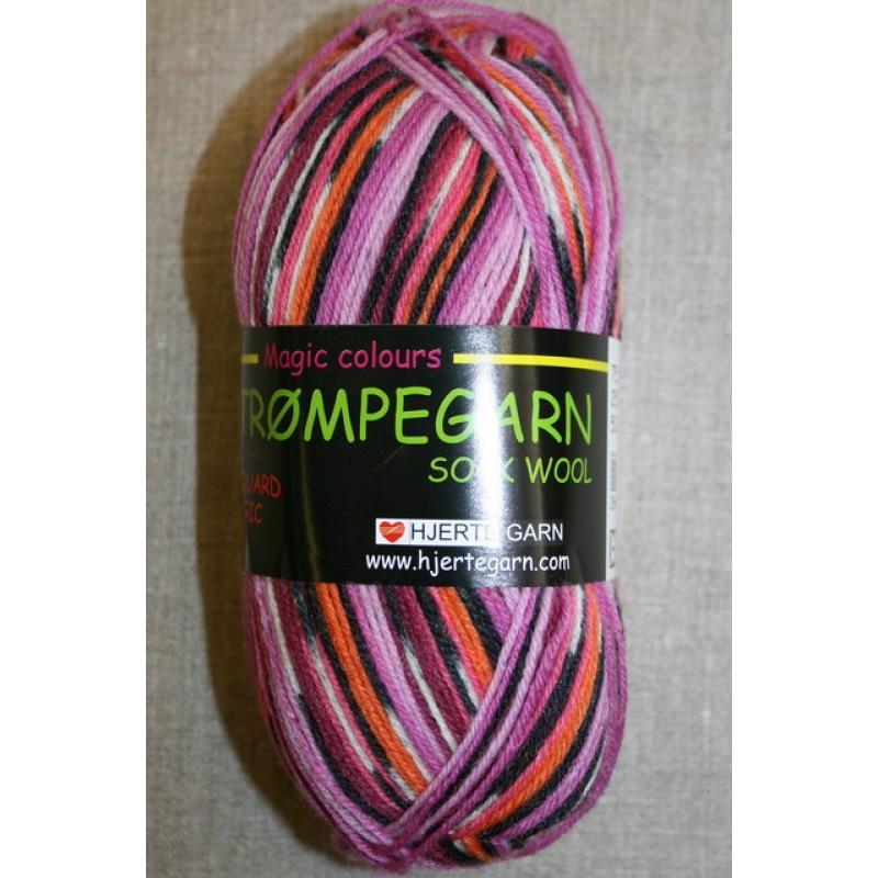 Strømpegarn Jacquard Magic lyserød/pink/orange/sort-33