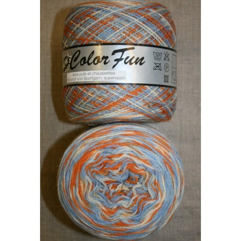 Color Fun strømpe og sportsgarn i print orange lyseblå, 950 meter-36