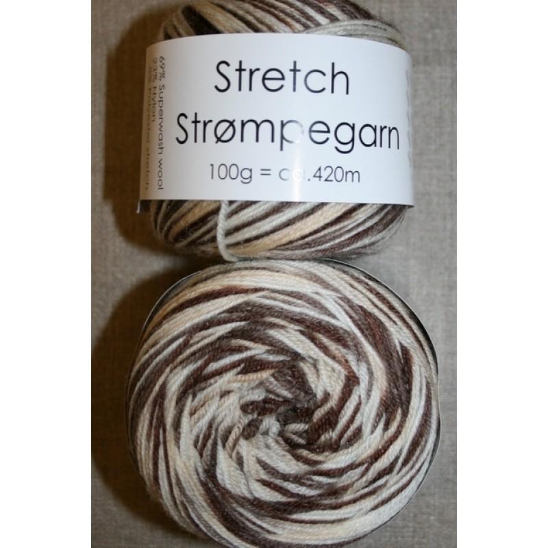 Stretch strømpegarn print brun beige off-white