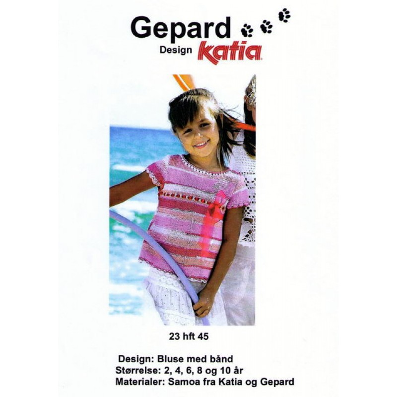Gepard mønster Pige-bluse m/bindebånd-30