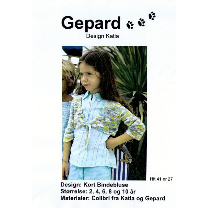 Gepard mønster Pige kort bindebluse-00