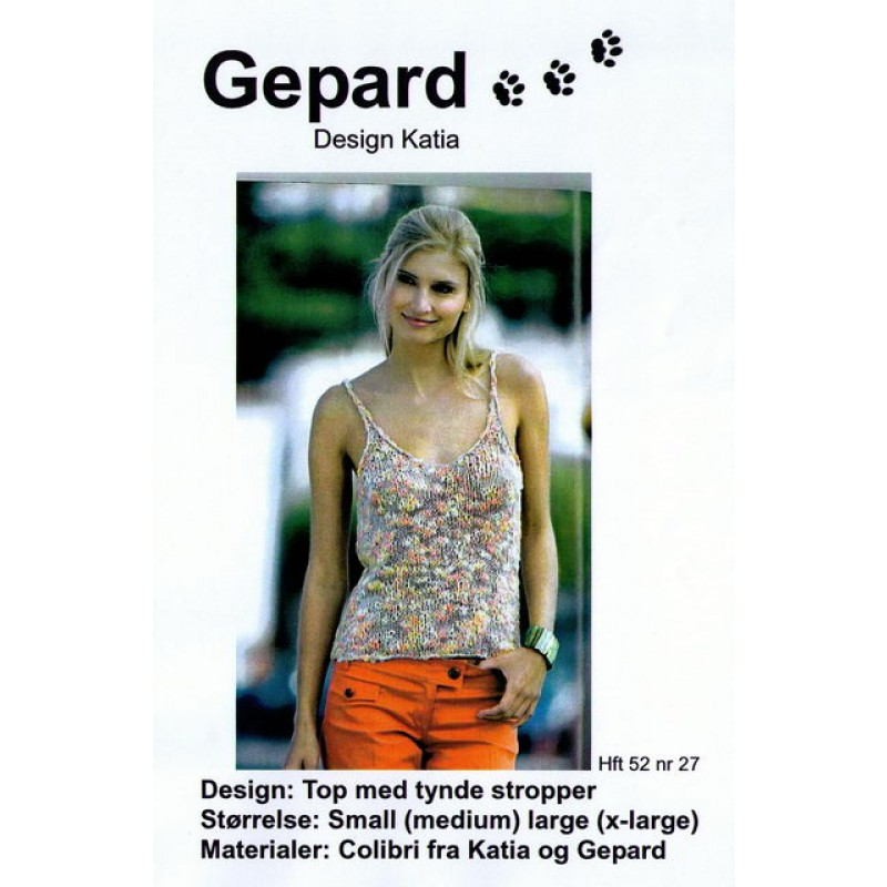Gepard mønster Top m/tynde stropper-00