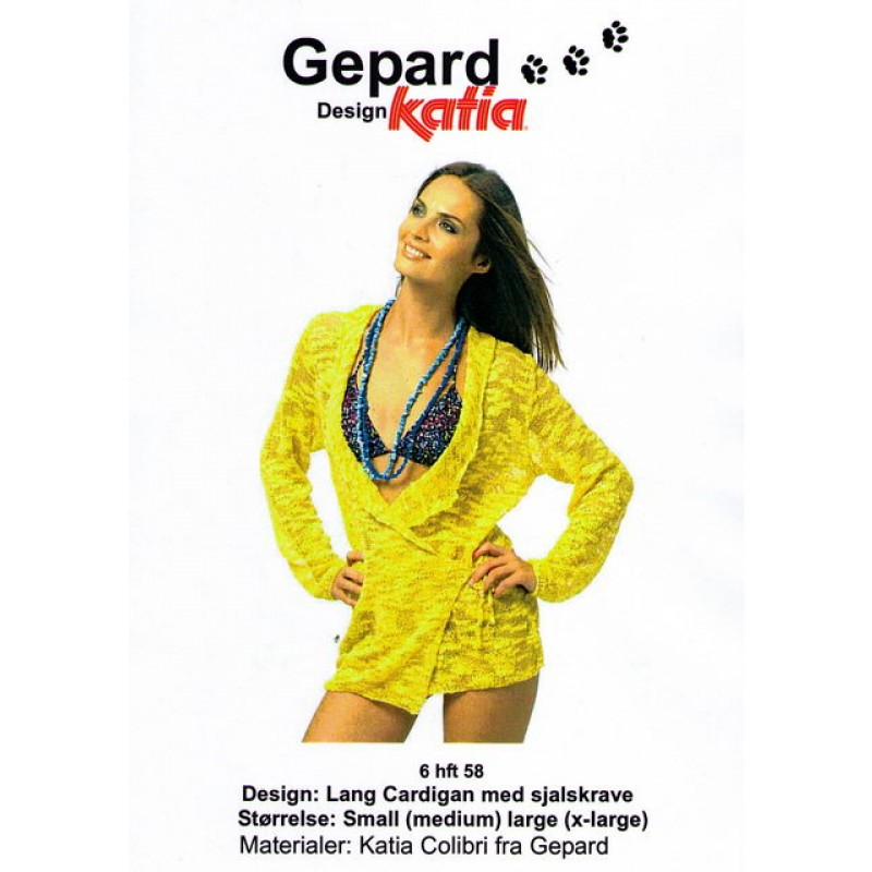 Gepard mønster Lang cardigan m/sjalskrave-00